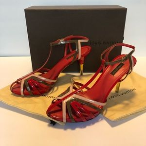 Louis Vuitton Red Patent Leather T Strap Sandal